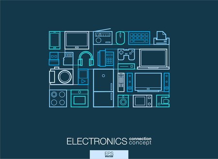 multimedia background: Electronics integrated thin line symbols. Modern linear style vector concept, with connected flat design icons. Abstract background illustration for multimedia shop, household and market concepts Illustration