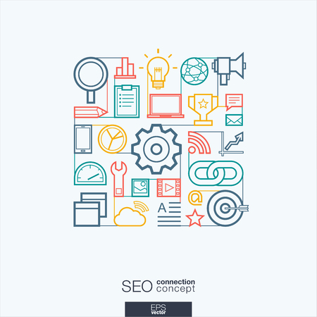 media network: SEO integrated thin line symbols. Modern linear style vector concept, with connected flat design icons. Abstract background illustration for digital network, analytics, social media and market concept