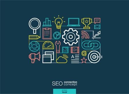 SEO ha integrato i simboli della linea sottile. Moderno concetto vettoriale di stile lineare, con icone di design piatto collegati. Illustrazione sfondo astratto per la rete digitale, analytics, social media e concetto di mercato