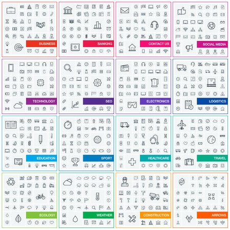 contact: Vector illustration of thin line icons for business, banking, contact, social media, technology, seo, logistic, education, sport, medicine, travel, weather, construction, arrow. Linear symbols set. Illustration