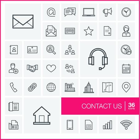Vector iconos de líneas finas y establecen elementos de diseño gráfico. Ilustración con el contacto nosotros delinear símbolos. Comunicación, casa, llamada, bocadillo, correo electrónico, carta, sobre, el apretón de manos pictograma lineal