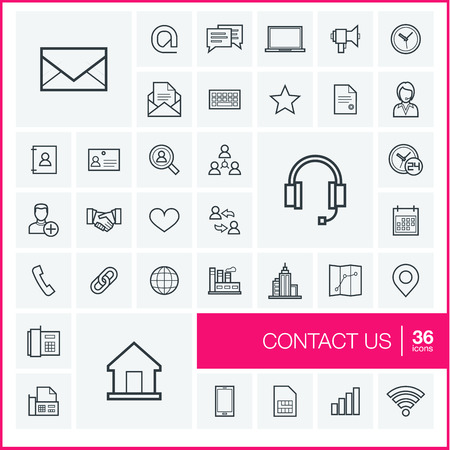 contact person: Vector thin line icons set and graphic design elements. Illustration with contact us outline symbols. Communication, home, call, speech bubble, email, letter, envelope, handshake linear pictogram