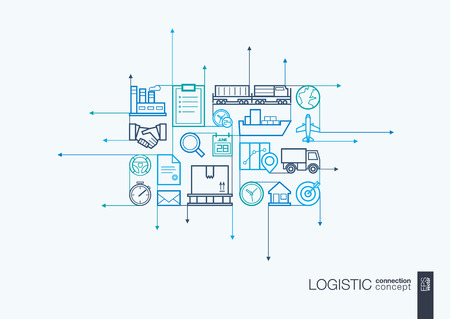 communicate concept: Logistic integrated thin line symbols. Motion arrows concept, with connected flat design icons. Illustration for delivery, service, shipping, distribution, transport, communicate concepts