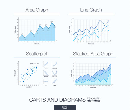span: Useful info graphic template. Set of graphic design elements: diagrams, stacked area and line graph, scatter plot.