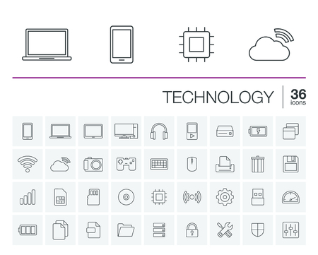 laptop mobile: thin line icons set and graphic design elements. Illustration with technology and digital outline symbols. Mobile phone, cloud computing, cogwheel, settings, network and media linear pictogram