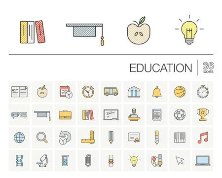 Set di icone sottili e elementi grafici di disegno. Illustrazione con l'istruzione, l'apprendimento on-line, riflettere i simboli del contorno. Libro, microscopio, scuola, penna, elearning, pittogramma a colori di insegnante
