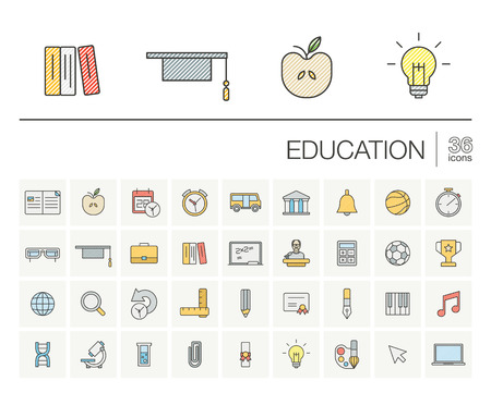 school icon: thin line icons set and graphic design elements. Illustration with education, online learning, think outline symbols. Book, microscope, school, pen, elearning, teacher color pictogram