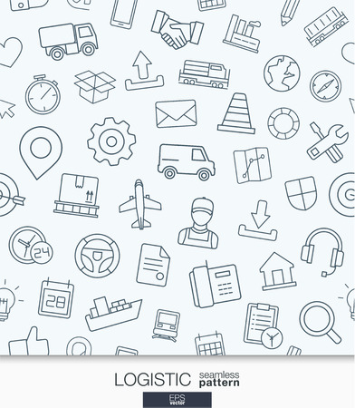 logistic: Logistic business wallpaper. Delivery and distribution seamless pattern. Tiling textures with thin line web icons set. Abstract background for mobile app, website, presentation Illustration