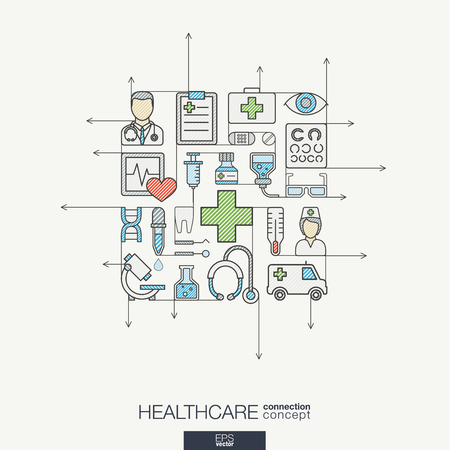 Modern color concept, with connected flat design icons. Abstract illustration for medical, health, care, medicine, network and global concepts.