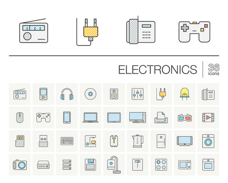 multimedia pictogram: thin line icons set and graphic design elements. Illustration with electronics, multimedia and technology outline symbols. Music, film, phones, joystick, video, kitchen gadgets color pictogram Illustration