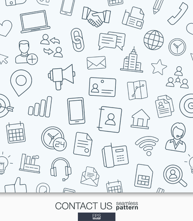 communication icons: Contact us wallpaper. Black and white communication seamless pattern. Tiling textures with thin line web icons set. illustration. Abstract background for mobile app, website, presentation.