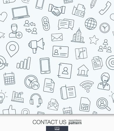 Póngase en contacto con nosotros fondo de pantalla. Modelo inconsútil de la comunicación en blanco y negro. Embaldosado texturas con iconos de la web de línea delgada conjunto. ilustración. Resumen de antecedentes para la aplicación móvil, web, presentación.
