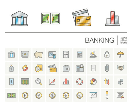 funds: thin line icons set and graphic design elements. Illustration with banking and finance outline symbols. Bank, card, wallet, coin, safe, money bag, cash, dollar, euro, pound color pictogram