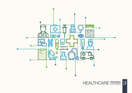 Healthcare integrated thin line symbols. Modern linear style concept, with connected flat design icons. Abstract illustration for medical, health, care, medicine, network and global concepts.