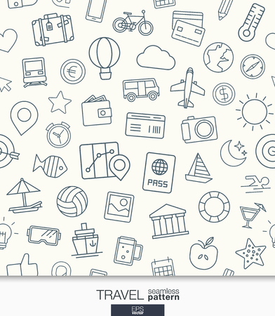 Travel wallpaper. Black and white trip seamless pattern. Tiling textures with thin line web icons set. Abstract background for mobile app, website, presentation. Vettoriali