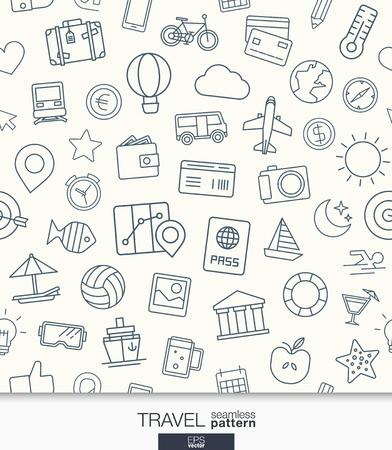 Reisen Tapete. Schwarz-Weiß-Reise nahtlose Muster. Tiling Texturen mit dünnen Linie Web-Icons gesetzt. Abstrakt Hintergrund für die mobile App, Website, Präsentation.