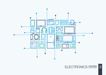 multimedia background: Electronics integrated thin line symbols. Modern linear style concept, with connected flat design icons. Abstract background illustration for multimedia shop, household and market concepts