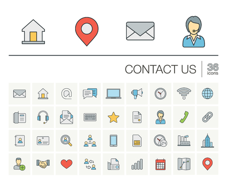 thin line icons set and graphic design elements. Illustration with contact us outline symbols. Communication, home, call, speech bubble, email, letter, envelope, handshake linear pictogram