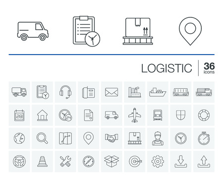 Cienka linia zaokrąglona zestaw ikon i elementy graficzne. Ilustracja z branży logistycznej dostawy, symboli konspektu dystrybucji. Usługa, eksport, transport, transportu liniowego piktogram