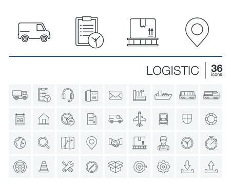 dünne Linie abgerundet Icons Set und Grafik-Design-Elemente. Illustration mit Logistik, Liefergeschäft, Vertrieb Gliederungssymbole. Service, Export, Versand, Transport linear Piktogramm
