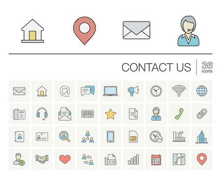 email icons: thin line icons set and graphic design elements. Illustration with contact us outline symbols. Communication, home, call, speech bubble, email, letter, envelope, handshake color pictogram Illustration