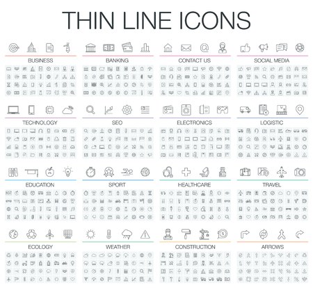 illustration of thin line icons for business, banking, contact, social media, technology, seo, logistic, education, sport, medicine, travel, weather, construction, arrow. Linear symbols set. Vettoriali