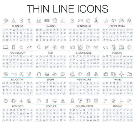 Ilustración de los iconos de líneas finas para los negocios, la banca, contactos, redes sociales, tecnología, SEO, logística, educación, el deporte, la medicina, los viajes, el tiempo, la construcción, la flecha. símbolos lineales fijados.
