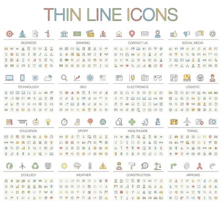 Ilustración de los iconos de líneas finas para los negocios, la banca, contactos, redes sociales, tecnología, SEO, logística, educación, el deporte, la medicina, los viajes, el tiempo, la construcción, la flecha. símbolos del color fijadas. Ilustración de vector