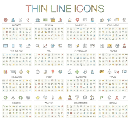 illustration of thin line icons for business, banking, contact, social media, technology, seo, logistic, education, sport, medicine, travel, weather, construction, arrow. Color symbols set.