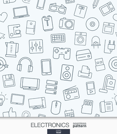 Home Electronics wallpaper. Black and white digital shop seamless pattern. Tiling textures with thin line web icons set. Abstract background for mobile app, website, presentation.