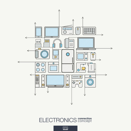 integrated groups: Electronics integrated thin line symbols. Modern color concept, with connected flat design icons. Abstract background illustration for multimedia shop, household and market concepts