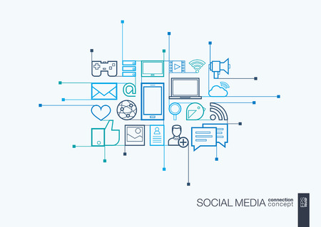 communicate concept: Social media integrated thin line symbols. Modern linear style concept, with connected flat design icons. Illustration for digital network, internet, communicate, technology, global concepts.