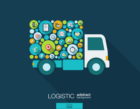 objects: Color circles, flat icons in a truck shape: distribution, delivery, service, shipping, logistic, transport, market concepts. Abstract background with connected objects.