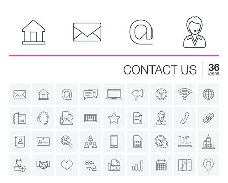 cienkie linie ustawione ikony i elementy graficzne. Ilustracja z kontaktu z nami nakreślenia symbole. Komunikacja, dom, zadzwoń, dymka, e-mail, list, koperta, uzgadniania liniowa piktogram