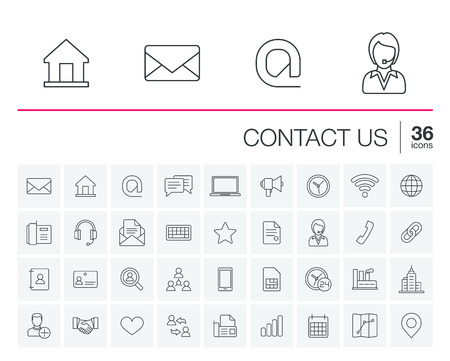 contact person: thin line icons set and graphic design elements. Illustration with contact us outline symbols. Communication, home, call, speech bubble, email, letter, envelope, handshake linear pictogram