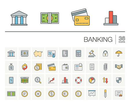 funds: thin line icons set and graphic design elements. Illustration with banking and finance outline symbols. Bank, card, wallet, coin, safe, money bag, cash, dollar, euro, pound linear pictogram