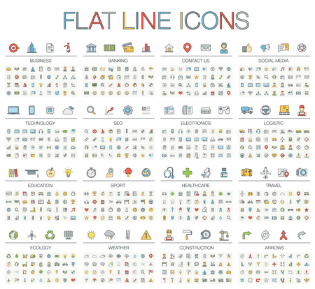 illustration of thin line color icons: business, banking, contact, social media, technology, logistic, education, sport, medicine, travel, weather, construction, arrow. Linear flat symbols set. Illustration