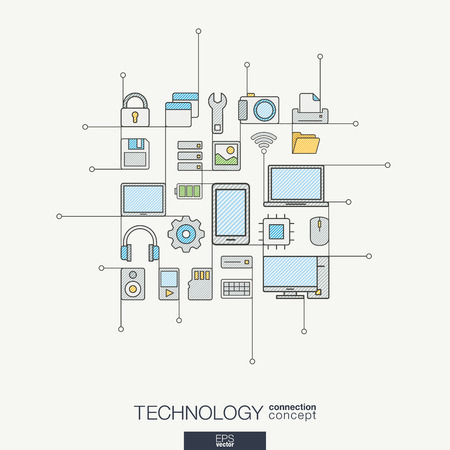 cloud technology: Technology integrated thin line symbols. Modern color style concept, with connected flat design icons. Illustration for digital, internet, network, social media, cloud, global concepts.