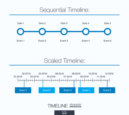 scaled: Useful infographic template. Set of graphic design elements: sequential and scaled timeline. Illustration