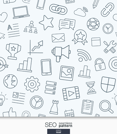 mobile marketing: SEO wallpaper. Black and white marketing seamless pattern. Tiling textures with thin line web icons set. illustration. Abstract background for mobile app, website, presentation. Illustration
