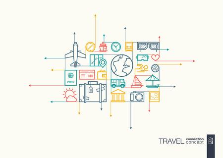 Viajes integrado símbolos de la forma. flechas de movimiento concepto, con los iconos de diseño de planos conectados. Resumen ilustración de fondo para el turismo, vacaciones, viaje, verano, los conceptos de vacaciones. Ilustración de vector