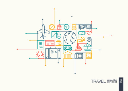 Voyage intégré symboles de ligne mince. flèches de mouvement concept, avec connectés icônes du design plat. Résumé illustration de fond pour le tourisme, vacances, voyage, été, vacances concepts. Vecteurs