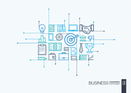 marketing research: Business integrated thin line symbols. Modern linear style concept, with connected flat design icons. Illustration for strategy, service, analytics, research, career, digital marketing concepts