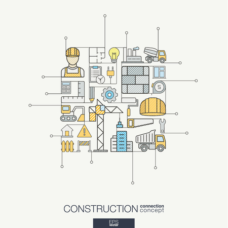 industrial construction: thin line icons set and graphic design elements. Illustration with construction, industrial, architectural, engineering outline symbols. Home repair tools, worker, building linear pictogram