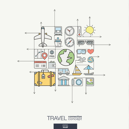 Thin Line Icons Set And Graphic Design Elements Illustration - Blank map of us summer trip