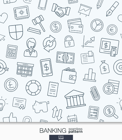 referral: Banking and finance wallpaper. Black and white bank seamless pattern. Tiling textures with thin line web icons set. Abstract background for mobile app, website, presentation.
