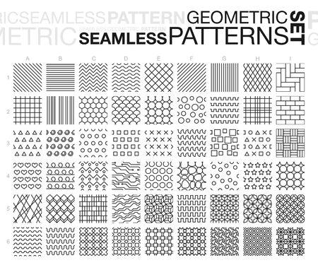 black lines: Black and white geometric seamless patterns. Thin line monochrome tiling textures set.