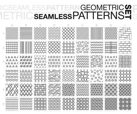 Black and white geometric seamless patterns. Thin line monochrome tiling textures set.