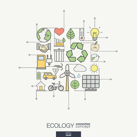 Ecology integrated thin line symbols. Modern color style concept, with connected flat design icons. Illustration for eco friendly, energy, environment, green, recycle, bio and global concepts.