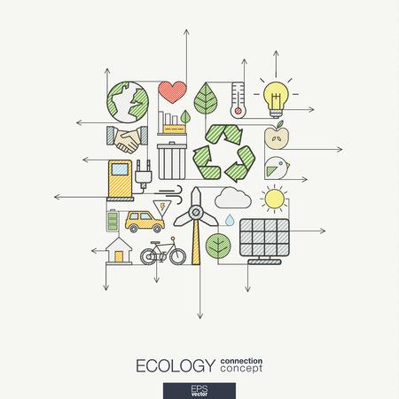 Kologie integriert dünne Linie Symbole. Moderne Farbe Stil Konzept, mit verbundenen flachen Design-Ikonen. Illustration für umweltfreundliche, Energie, Umwelt, grün, recyceln sie, bio und globale Konzepte. Standard-Bild - 53667639